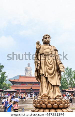Wuxi,China - July 17,2016:Lingshan Buddha scenic beautiful scene,Lingshan Buddha is one of China's largest Buddha statue,Grand Buddha at Lingshan Scenic Area is a famous tourist attraction in China.