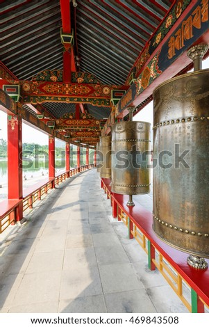 Wuxi,China - on July 17,2016;Prayer wheel in lingshan Buddha scenic spot,wuxi lingshan Buddha scenic area is a famous Chinese buddhist culture tourist attraction.