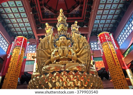 WUZHEN, SHANGHAI-DECEMBER 2, 2008: Buddha figures at Foguangpuzhao  temple.  Wuzhen water village is Shanghai tourist attraction with more than 100000 visitors per year.  - stock photo