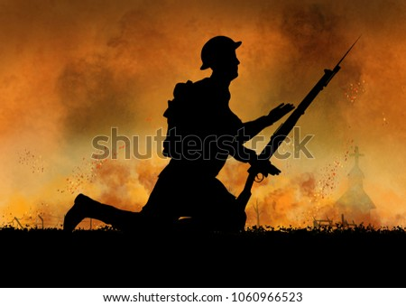 WW1 British soldiers silhouette. Fire and smoke battlefield.