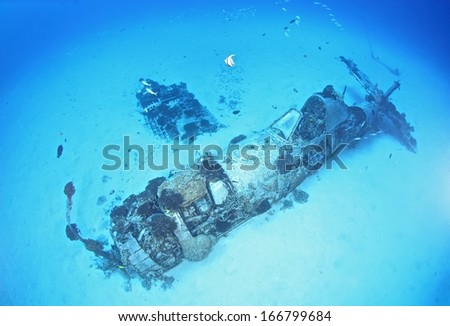 WW2 era Corsair airplane wreck, located in Maunalua Bay, Hawaii - stock photo