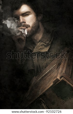 WW2 Ground Infantry Soldier Looking Determined While Smoking On A Cigarette And Carrying A Box Filled With Small Arms Ammunition During The Battle Of His Life - stock photo