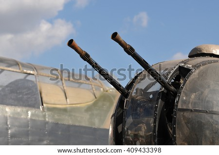 WW2 Lancaster Bomber Gun Turret and Cockpit - stock photo