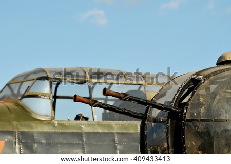 WW2 Lancaster Bomber Gun Turret and Cockpit