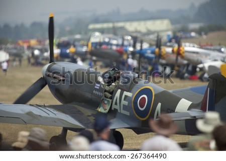 WW2 vintage RAF spitfire fighter aircraft at the Flying Legends Air Display held at Duxford airfield,Cambridgeshire,UK.taken 14/07/2013 - stock photo