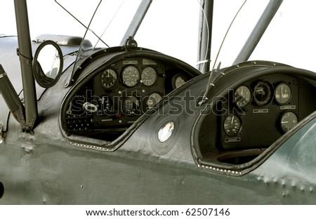 WWI airplane cockpit - stock photo