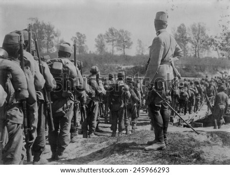 WWI. Austrians crossing the Wislocka, a tributary of the Vistula river, in south-eastern Poland. Possibly during the 1915 German and Austrian advance into Russian Poland.