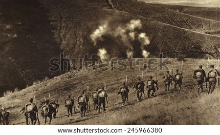 WWI. Bulgarians advancing in counter attack against a heavy barrage laid down by the Serbia Artillery. Ca. 1915-18. - stock photo