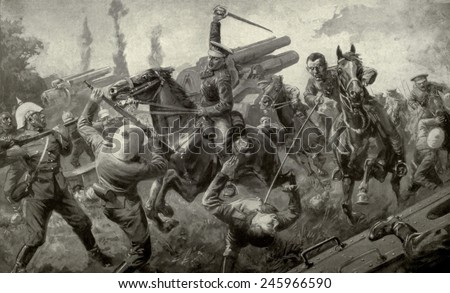 WWI. Charge of the Ninth Lancers during the 'Great Retreat' from Mons to Cambrai attacking a German battery of eleven guns. August 25, 1914. - stock photo