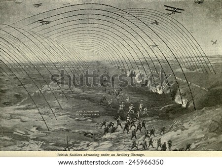 WWI. Diagram of British soldiers advancing under a creeping artillery barrage. Western Front, ca. 1915-1918. - stock photo
