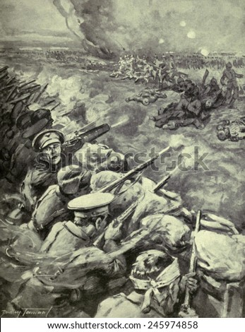 WWI. Propagandistic British illustration of a German counter-attack on the British occupied Hohenzollern Redoubt, an extension of the Battle of Loos (Sept. 25-Oct. 13, 1915). - stock photo