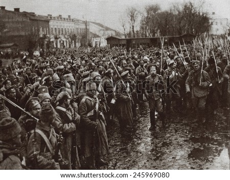 WWI. Russian troops entering the town of Czernowitz, during the fighting with Austria in the Carpathians. March 1915. - stock photo
