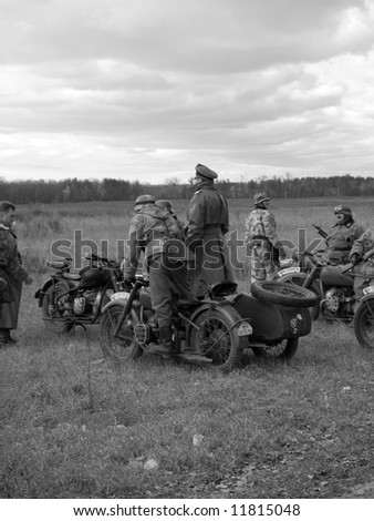 WWII German motorcycle reconnaissance troops