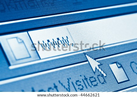 www and cursor closeup on LCD screen - stock photo