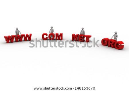 WWW, com, net, org - stock photo