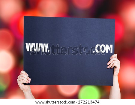 www. .com with a copy space card with bokeh background - stock photo