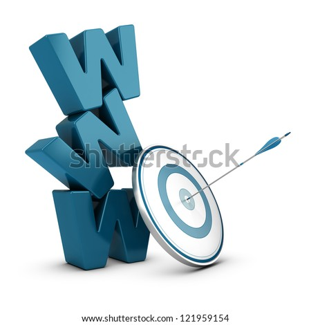 WWW 3D blue letters pile over white background with a target and one arrow hitting the center - stock photo