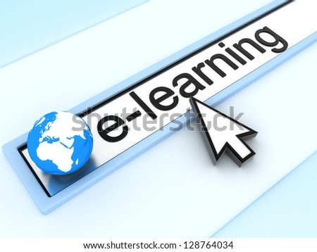 WWW e-learning (done in 3d) - stock photo