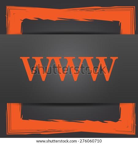 WWW icon. Internet button on grey background. - stock photo