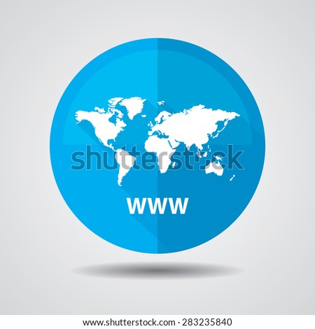 Www icon, Internet sign icon. World wide web blue symbol, Business and social media networking service concept on a white background. - stock photo