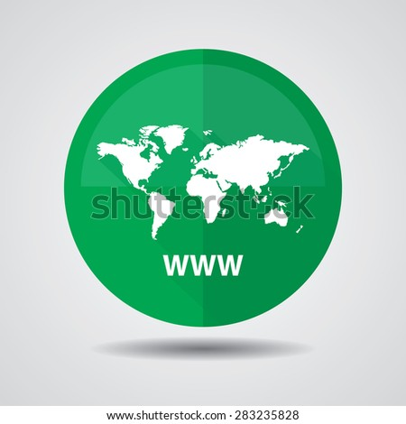 Www icon, Internet sign icon. World wide web green symbol, Business and social media networking service concept on a white background. - stock photo