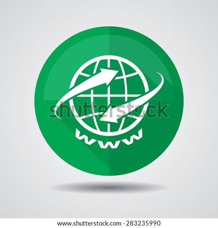 Www web green icon on a white background. - stock photo
