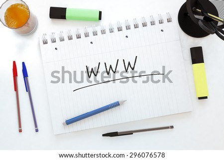 WWW - World Wide Web - handwritten text in a notebook on a desk - 3d render illustration. - stock photo