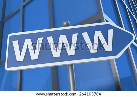 WWW - World Wide Web - illustration with street sign in front of office building. - stock photo