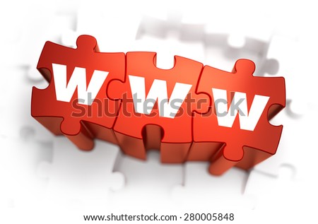 WWW - World Wide Web -White Word on Red Puzzles on White Background. 3D Illustration. - stock photo