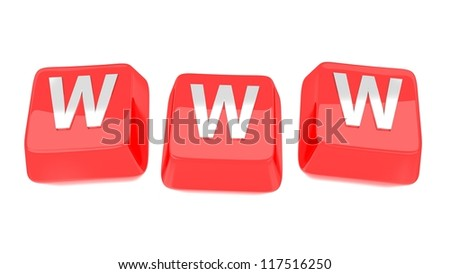 WWW written in white on red computer keys. 3d illustration. Isolated background. - stock photo
