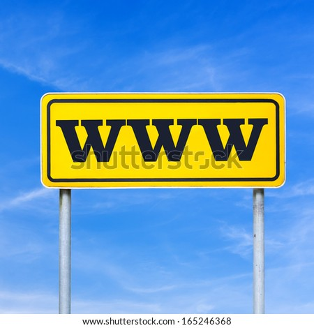 Www written on yellow street sign. Over blue sky.
