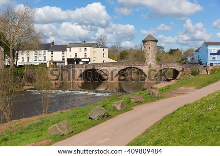 Wye valley tourist attraction the Monnow Bridge Monmouth Wales uk medieval fortified river bridge