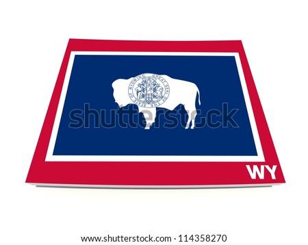 wyoming state flag on 3d map - stock photo