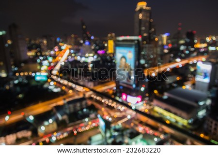 X cross abstract bokeh cityscape of Bangkok night background