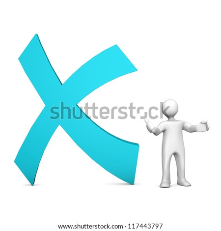 X, for logout, with white cartoon character on the white background.