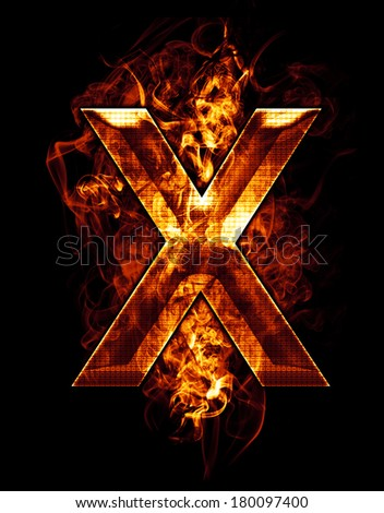x, illustration of  letter with chrome effects and red fire on black background - stock photo