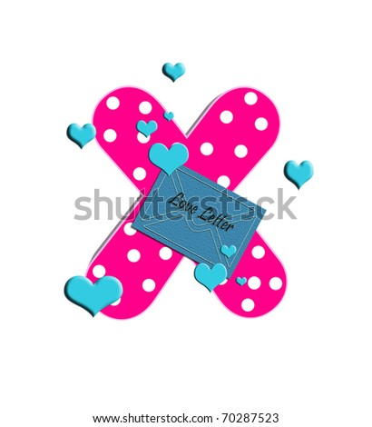 "X in the alphabet set ""Love"" is  filled with polka dots and surrounded by 3D hearts."