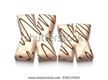 X letter of white chocolate with brown cream in 3d rendered on white background. - stock photo