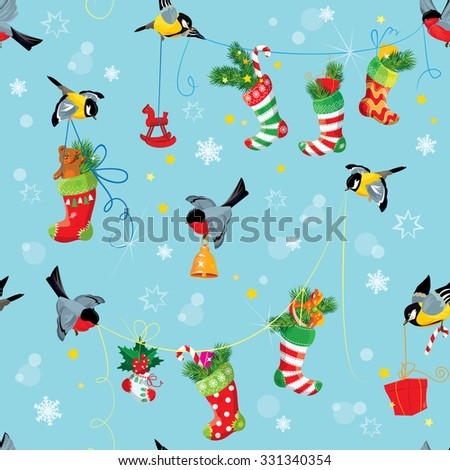 X-mas and New Year background with Birds holding Christmas stockings, gifts and presents. Seamless pattern for winter holiday design. Raster version - stock photo