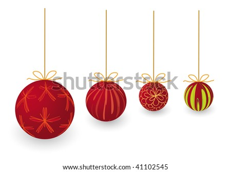 X-mas balls on white background, can be used all or separately