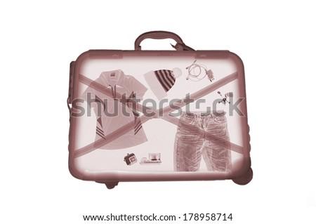 X-ray bag on white background - stock photo