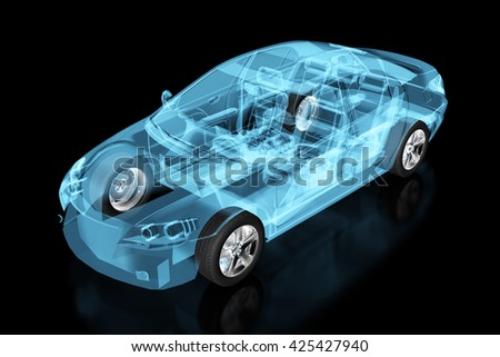 X-ray car isolated on black. 3d illustration. Include clipping path. - stock photo