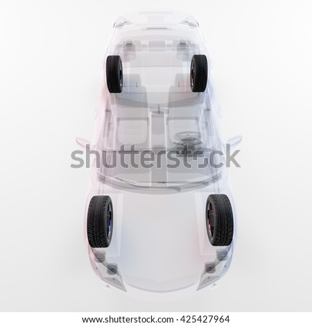 X-ray car isolated on white. 3d illustration. Include clipping path - stock photo