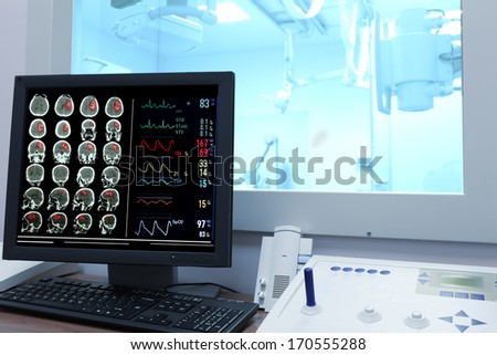 X-ray examination. Control office in CT - stock photo
