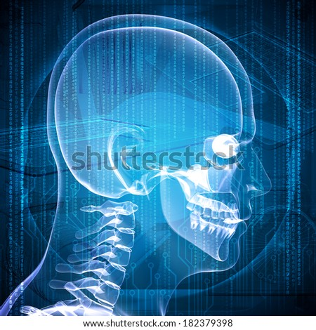 X-ray image of a man's head, graphics and communication in the background - stock photo