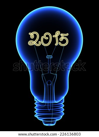 X-Ray lightbulb with sparkling 2015 digits inside isolated on black. High resolution 3D image
