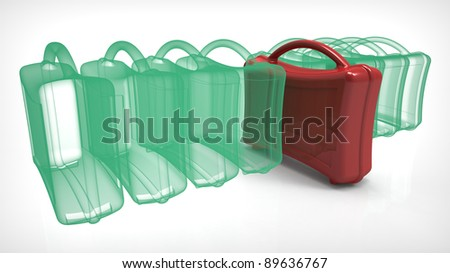 X-ray luggage on white background