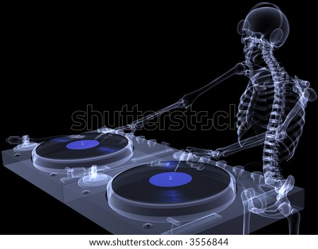 X-Ray of a male skeleton DJ spinning records on a couple of xray turntables. Isolated on a black background