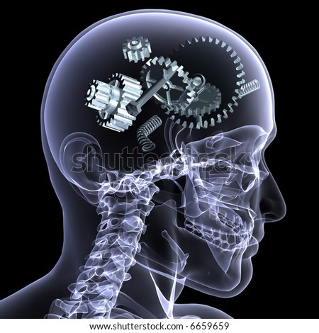 X-Ray of a male skeleton with a series of gears and other parts in his head coming apart. Isolated on a black background - stock photo