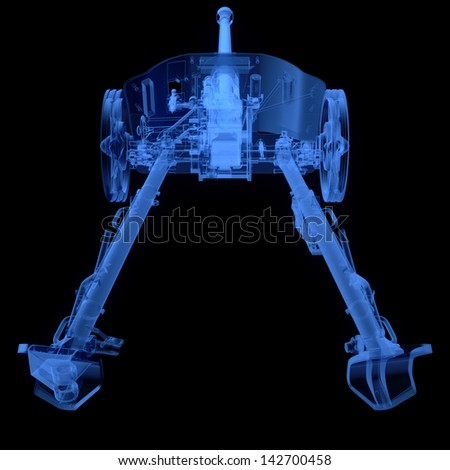 X-ray of artillery cannon on black background - stock photo